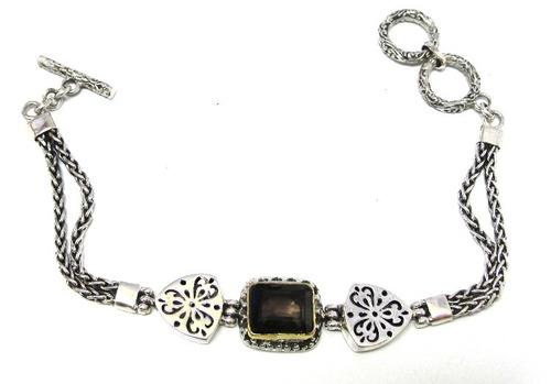 pulseira em prata 925 c/ pedra topazio fume natural - pu2064