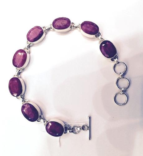 pulseira em prata 925 com pedras naturais - pu2066