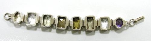 pulseira em prata 925 com pedras naturais - pu2068