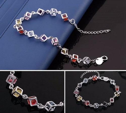 pulseira em prata 925 cubos com pedras coloridas