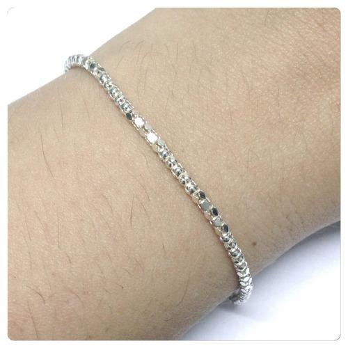 pulseira  em prata 925 feminina modelo pipoca look blogueira