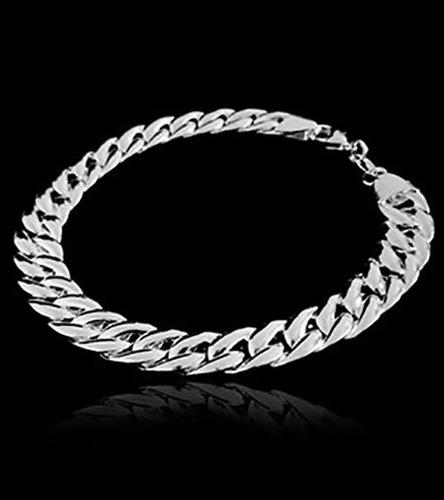 pulseira estilo italiana groumett 1 lado banho prata 925
