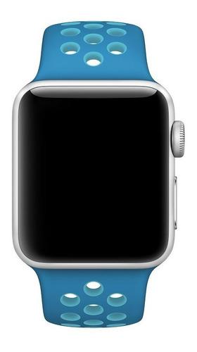 pulseira estilo nike apple watch 42/44mm azul orbit