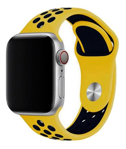 pulseira estilo nike p/ apple watch 38/40mm amarelo c/ azul