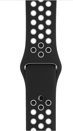 pulseira estilo nike p/ apple watch 38/40mm preto c/ branco