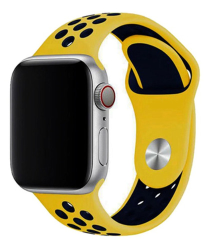 pulseira estilo nike p/ apple watch 42/44mm amarelo c/ azul