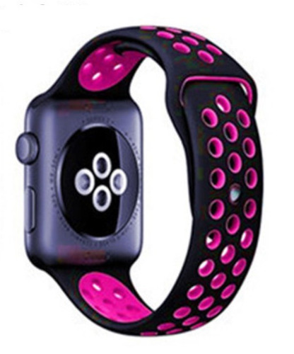 pulseira estilo nike p/ apple watch 42/44mm - preto c/ rosa
