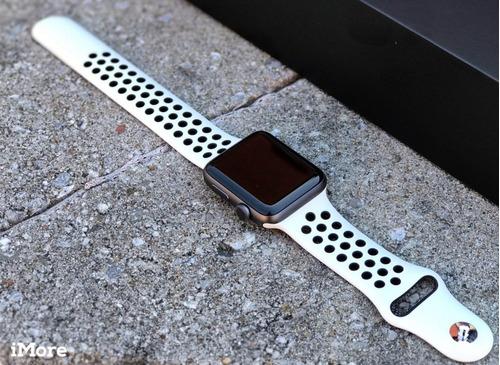 pulseira estilo nike para apple watch 38/40mm branca preto