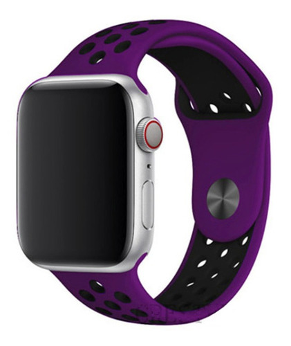 pulseira estilo nike para apple watch 38/40mm - roxa c preto