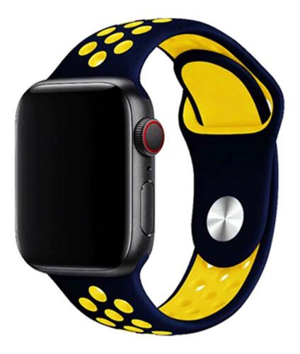 pulseira estilo nike para apple watch 42/44mm azul c amarelo