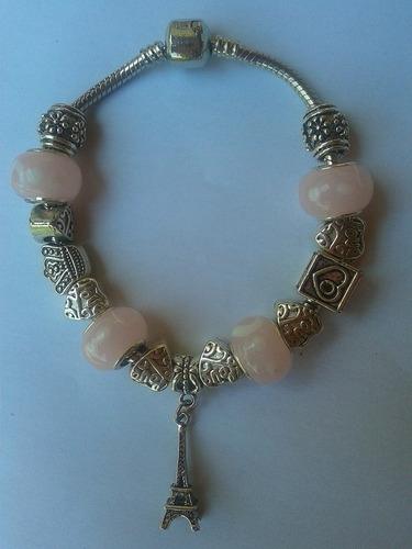 pulseira estilo pandora i love ny com muranos rosa