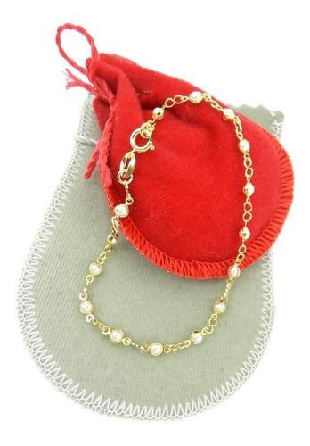 pulseira feminina 15cm perola 3mm folheada ouro pl329
