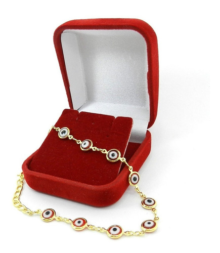 pulseira feminina 16/18cm olho grego folheada ouro pl335