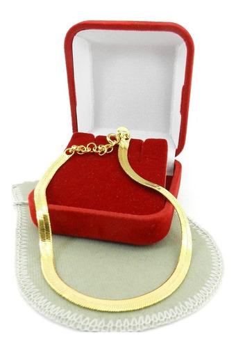 pulseira feminina 16/19cm 3mm largura folheada ouro pl225