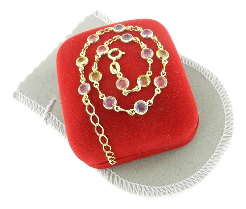 pulseira feminina 16cm 6mm colorida folheada ouro pl346