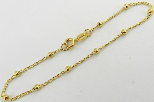 pulseira feminina 16cm bolinha 2mm folheado ouro pl402