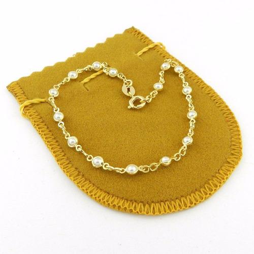 pulseira feminina 18cm perola 3mm folheada ouro pl332