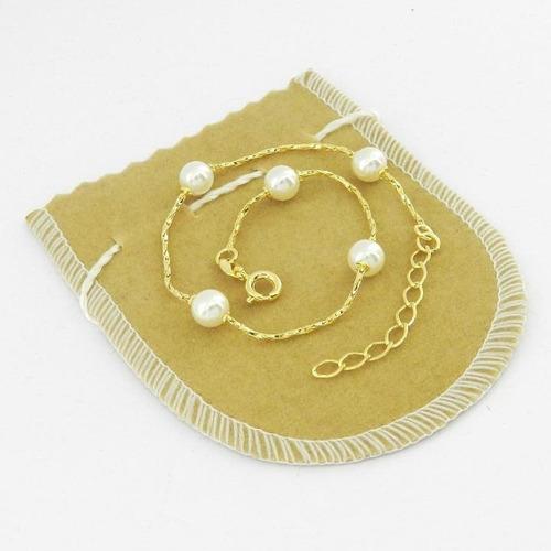 pulseira feminina 20/23cm perola 6mm folheado ouro pl458