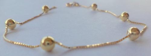 pulseira feminina adulta em ouro 18k 750 6 bolas 4mm bolinha