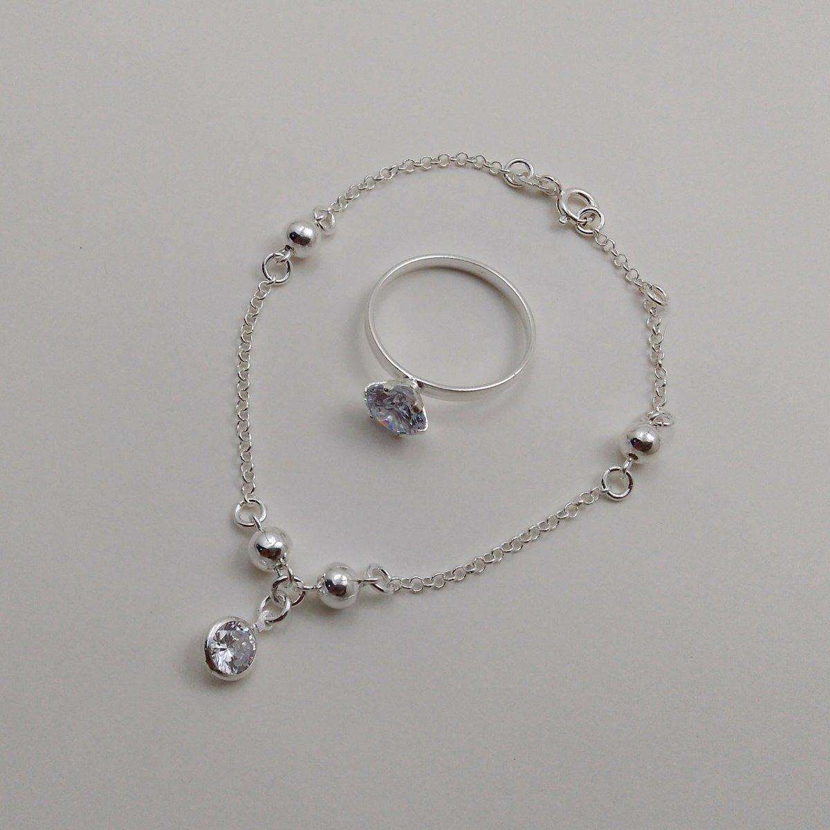 pulseira feminina + anel solitário em prata 925 com zirconia. Carregando  zoom. ae0634d3c2