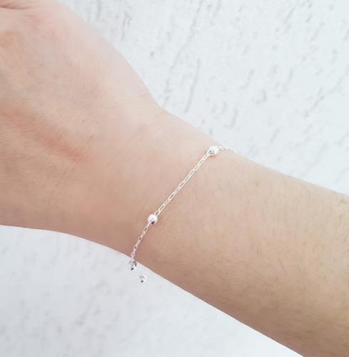pulseira feminina bolinhas prata legítima 925