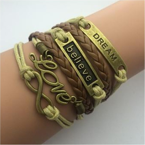 pulseira feminina, bracelete de couro, azul, infinito, love