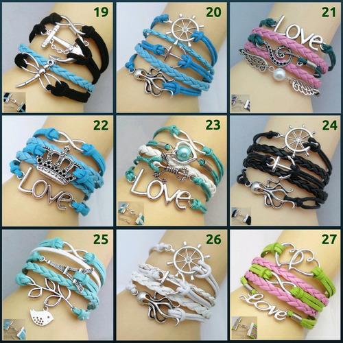 pulseira feminina bracelete de couro, metal, pingente, love