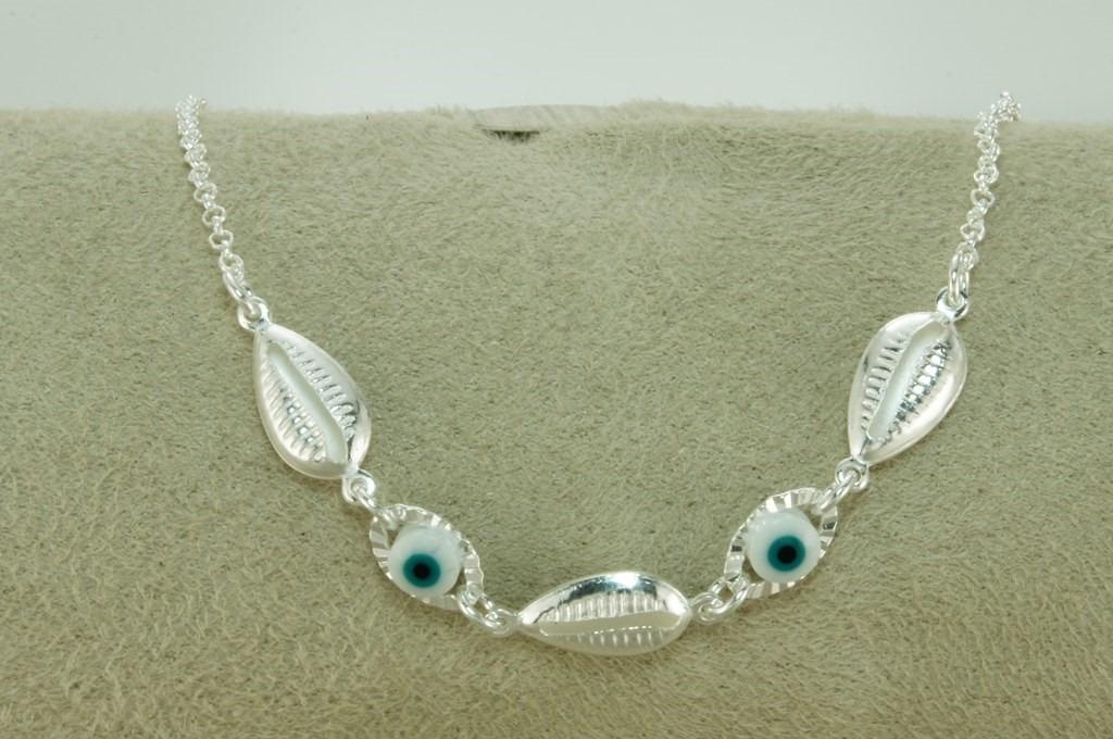 a3f1510493e pulseira feminina buzios olho grego branco (d-3) prata 925. Carregando zoom.