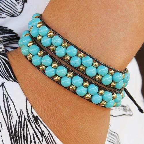 pulseira feminina chan luu em pedra natural turquesa azul