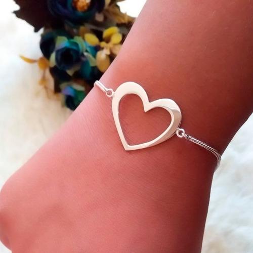 pulseira feminina com coração grande vazado em prata 925