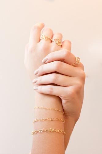 pulseira feminina coração 18cm banhada a ouro 18k