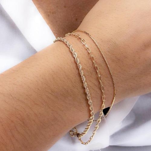 pulseira feminina cordão baiano 18cm banhado a ouro 18k