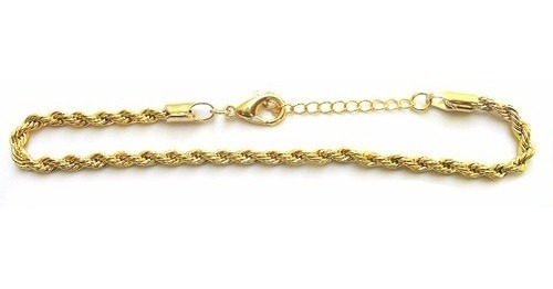 pulseira feminina cordão torcido folheado a ouro 18k