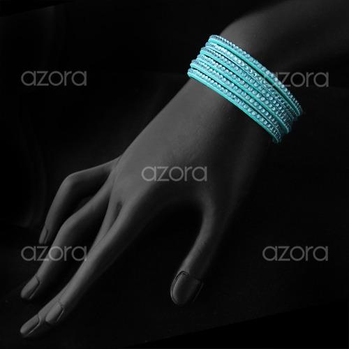 pulseira feminina couro 6 tiras cristais várias cores