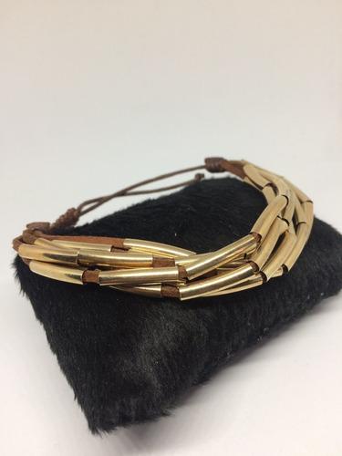 pulseira feminina couro feminina detalhes dourado