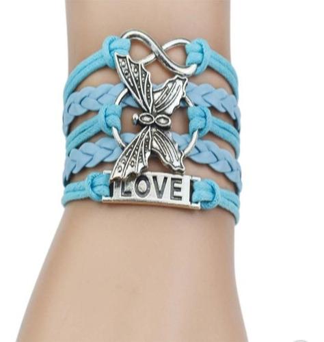 pulseira feminina de  couro borboleta love azul claro