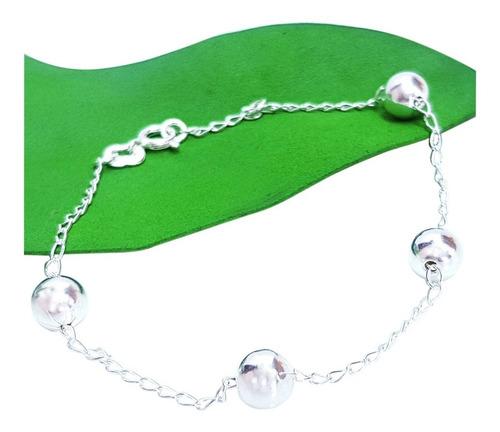 pulseira feminina de prata 925 com bolas espelhadas