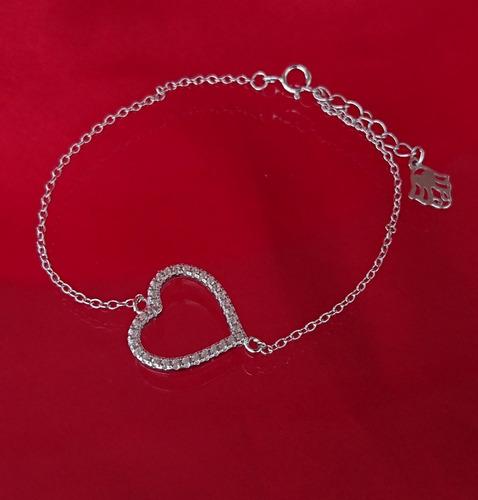 pulseira feminina delicada coração cristal prata 925 maciça