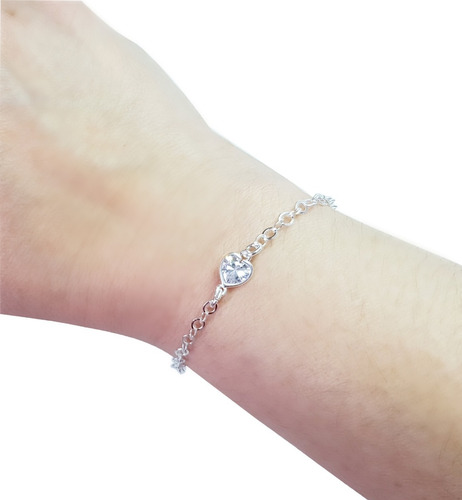 pulseira feminina delicada coração prata legítima 925