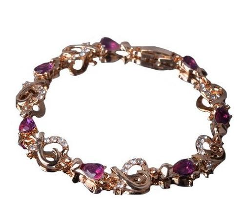 pulseira feminina delicada cravejada cristais banhada a ouro