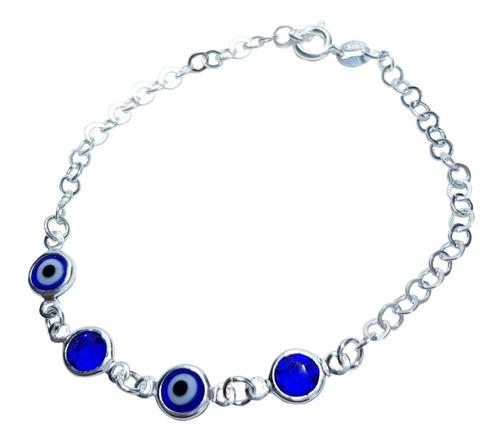 pulseira feminina delicada olho grego prata legítima 925