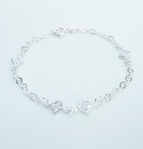 pulseira feminina delicada zirconia prata legítima 925
