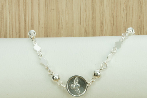 pulseira feminina divino espirito santo (m4) prata 925