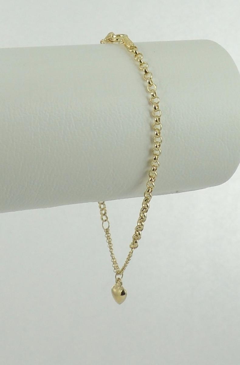 8af340861e459 pulseira feminina elos portugueses coração 18 cm ouro 18k. Carregando zoom.