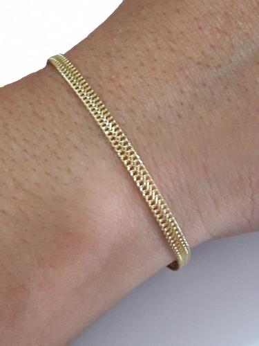 pulseira feminina em ouro 18k malha italiana 1.4gr + brinde