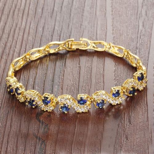 pulseira feminina festa banhada ouro 18k + cristais zircônia