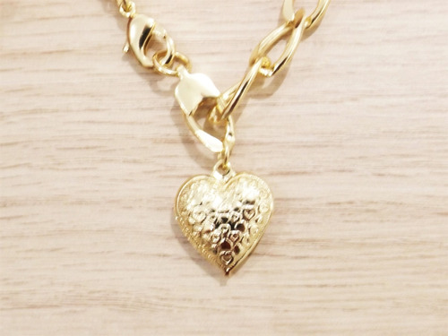 pulseira feminina grumet com pingente coração folheada ouro