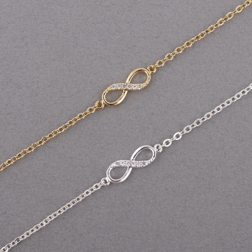 pulseira feminina infinito - dourada ou folheada a prata