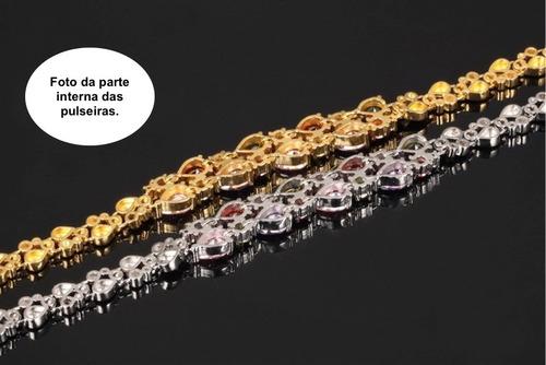 pulseira feminina luxo banho ouro 18k + zircônia coloridas