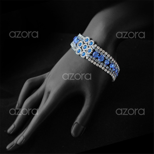 pulseira feminina luxo folheada platina + cristais zircônia